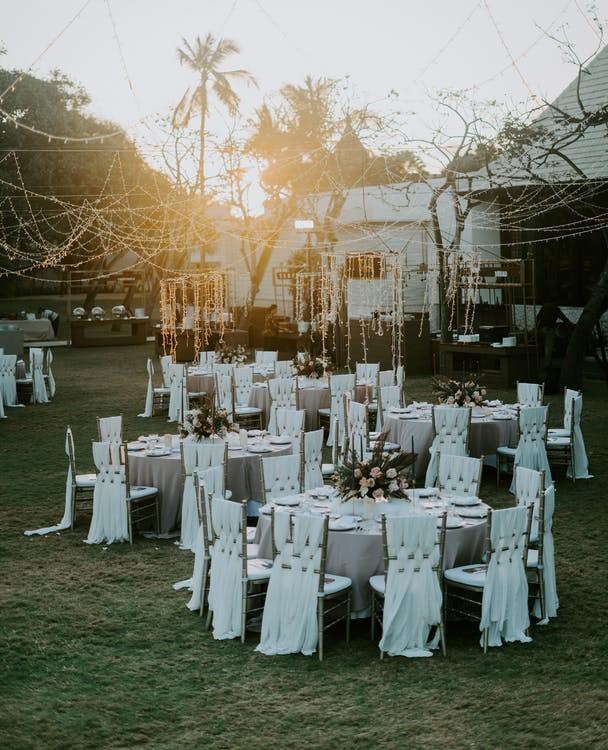 A small wedding arrangement at home.