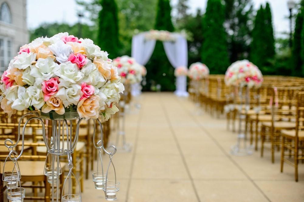 A stunning photo showcasing a wedding venue
